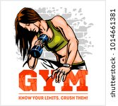 athletic woman with dumbbells.... | Shutterstock .eps vector #1014661381
