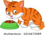 cartoon funny cat eating | Shutterstock .eps vector #1014673489