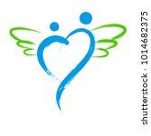 vector angel symbol with heart... | Shutterstock .eps vector #1014682375