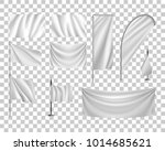 set white flags  banners ... | Shutterstock .eps vector #1014685621