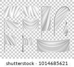 set white flags  banners ... | Shutterstock .eps vector #1014685621