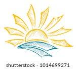 sun dawn in the sea. | Shutterstock .eps vector #1014699271