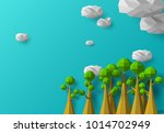 tree and cloud low poly element ... | Shutterstock .eps vector #1014702949