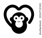 monkey make heart with tail | Shutterstock .eps vector #1014712141