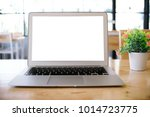 laptop with mock up blank... | Shutterstock . vector #1014723775