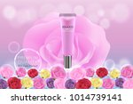 pink cosmetic container with... | Shutterstock .eps vector #1014739141