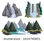 waterfalls set. cartoon... | Shutterstock .eps vector #1014740851