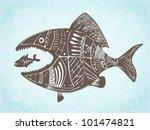 vector hand drawn fish eating... | Shutterstock .eps vector #101474821