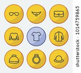 clothing icons set with jacket  ...