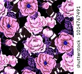 rose seamless pattern.... | Shutterstock .eps vector #1014767491