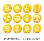 cryptocurrency icon set. pixel... | Shutterstock .eps vector #1014780424