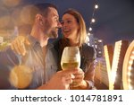 romantic date at restaurant... | Shutterstock . vector #1014781891