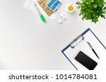 top view of doctor's desk table ... | Shutterstock . vector #1014784081