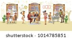 series of people drinking... | Shutterstock .eps vector #1014785851