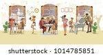series of people drinking... | Shutterstock .eps vector #1014785851