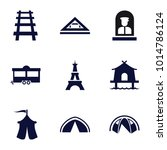 tourist icons. set of 9... | Shutterstock .eps vector #1014786124