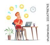 man thinks about what to sell... | Shutterstock .eps vector #1014798745