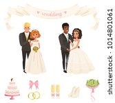 brides in lush white dresses ... | Shutterstock .eps vector #1014801061