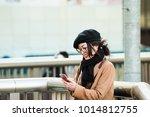 asian female traveler in japan | Shutterstock . vector #1014812755