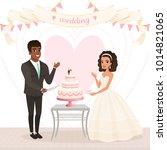 cartoon caucasian bride and... | Shutterstock .eps vector #1014821065