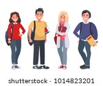 happy students with books on an ... | Shutterstock . vector #1014823201