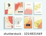 Collection of autumn universal trendy cards. Hand Drawn textures. Modern Graphic Design for banner, poster, card, cover, invitation, brochure, flyer. Vector isolated illustration. | Shutterstock vector #1014831469