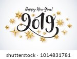 Stock vector  hand written lettering with golden christmas stars on a black background happy new year card 1014831781