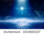 sci fi background   ufo with... | Shutterstock . vector #1014833107
