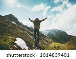 traveler man raised hands... | Shutterstock . vector #1014839401
