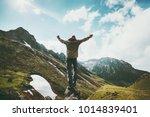 traveler man raised hands... | Shutterstock . vector #1014839401