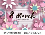 pink pastel happy womens day.... | Shutterstock .eps vector #1014843724