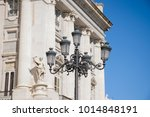 vintage streetlamps against a... | Shutterstock . vector #1014848191