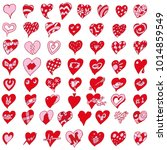 many little funny red hearts | Shutterstock .eps vector #1014859549