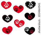 black red heart with paw prints ... | Shutterstock .eps vector #1014864541