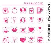 love line icons set. happy... | Shutterstock .eps vector #1014868405