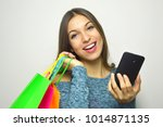 smiling girl with shopper bags... | Shutterstock . vector #1014871135