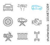 auto workshop linear icons set. ... | Shutterstock .eps vector #1014871309