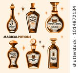 halloween bottle labels  ... | Shutterstock .eps vector #1014872134