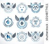 set of vector vintage emblems...   Shutterstock .eps vector #1014877411