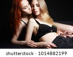 beautiful lovely girls couple.... | Shutterstock . vector #1014882199