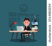 sleepy businessman works hard... | Shutterstock .eps vector #1014883054