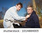 older man fell while running in ...   Shutterstock . vector #1014884005