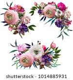 beautiful floral wreath...   Shutterstock . vector #1014885931