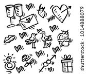 doodle icon set valentine... | Shutterstock .eps vector #1014888079
