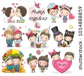 set of cute cartoon boy and... | Shutterstock .eps vector #1014888859
