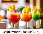the colorful juice with sliced... | Shutterstock . vector #1014890671