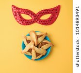 purim holiday background with... | Shutterstock . vector #1014893491