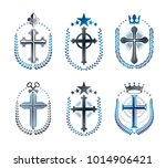 christian crosses emblems set.... | Shutterstock .eps vector #1014906421