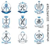 vintage weapon emblems set.... | Shutterstock .eps vector #1014907069