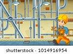 cartoon scene with repairman in ... | Shutterstock . vector #1014916954